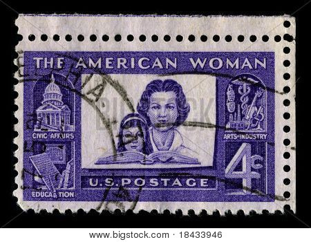 USA - CIRCA 1930: A stamp printed in USA shows image of the dedicated to the American Woman circa 1930.