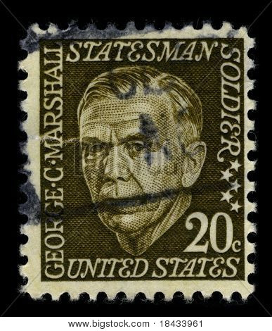 USA - CIRCA 1967: A stamp printed in USA shows image portrait George Catlett Marshall (December 31, 1880 - October 16, 1959) was an American military leader circa 1967.