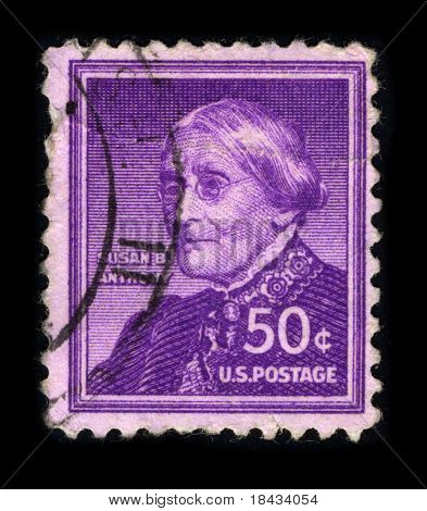 USA - CIRCA 1930: A stamp printed in USA shows portrait Susan Brownell Anthony (February 15, 1820 - March 13, 1906) was a prominent American civil rights leader circa 1930.