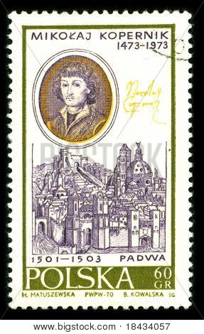 POLAND-CIRCA 1970:A stamp printed in Poland shows image portrait Nicolaus Copernicus was a Renaissance astronomer and the first person to formulate a comprehensive heliocentric cosmology, circa 1970.