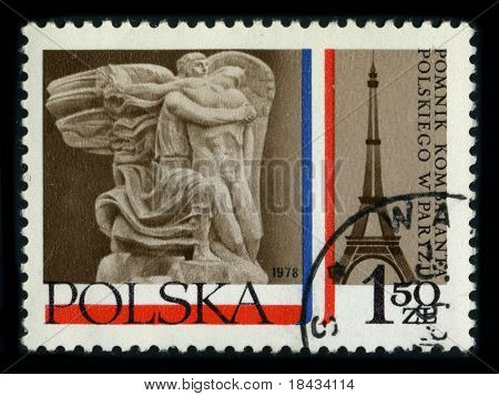 POLAND - CIRCA 1978: A stamp printed in POLAND shows image of the dedicated to the Polish veterans memorial in Paris, circa 1978.