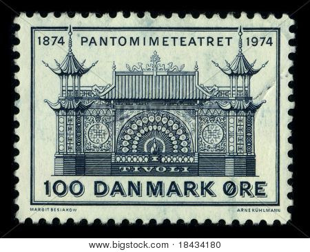 DENMARK - CIRCA 1974: A stamp printed in DENMARK shows image of the dedicated to the The Pantomime Theatre  is an open-air theatre located in the Tivoli Gardens in Copenhagen, Denmark, circa 1974.