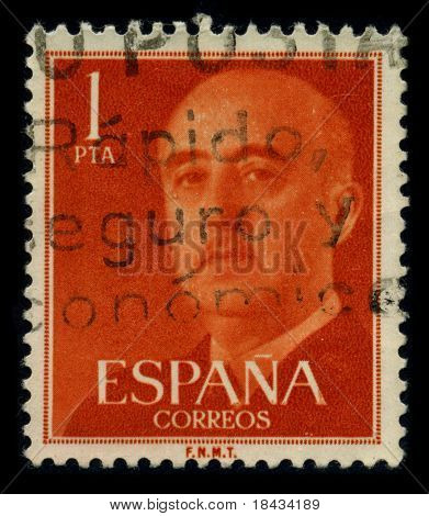 SPAIN-CIRCA 1975: A stamp shows image portrait Francisco Paulino Hermenegildo Teodulo Franco y Bahamonde Salgado Pardo de Andrade,commonly known as Franco, was a Spanish dictator, circa 1975.