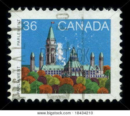CANADA-CIRCA 1980: A stamp shows image of the dedicated to The Parliament of Canada is the federal legislative branch of Canada, seated at Parliament Hill in the national capital, Ottawa, circa 1980.