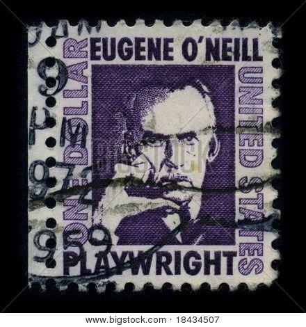 EUA-por volta de 1959: um selo imprimido nos EUA mostra retrato Eugene Gladstone o ' Neill (16 de outubro de 1888 - 27