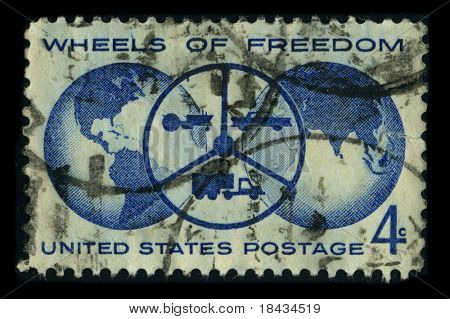 USA - CIRCA 1980: A stamp dedicated to The Freedom Wheels Program is an initiative set up by the Technical Aid to the Disabled (TAD) organization with disabilities modified bikes, circa 1980.