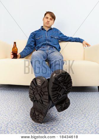 Drunk Dude Sprawled On Couch