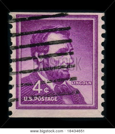 USA-CIRCA 1959: A stamp shows image portrait Abraham Lincoln (February 12, 1809 - April 15, 1865) served as the 16th President of the United States, circa 1959.