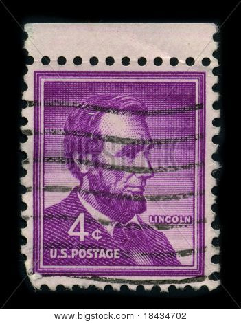 USA-CIRCA 1959: A stamp shows image portrait Abraham Lincoln (February 12, 1809 - April 15, 1865) served as the 16th President, circa 1959.