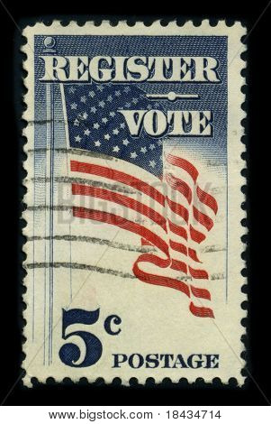 USA - CIRCA 1980: A stamp dedicated to the Voter registration is the requirement in some democracies for citizens, circa 1980.