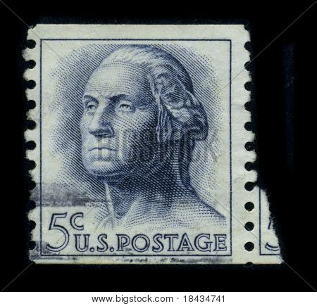 USA - CIRCA 1950: A stamp printed in USA shows image portrait George Washington (1732-1799), was the first president of the United States (1789-1797), circa 1950.