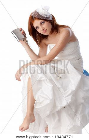 Unhappy Young Woman In A Wedding Dress