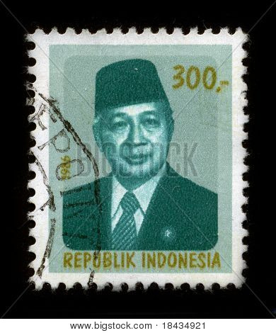 INDONESIA - CIRCA 1986: A stamp dedicated to the Suharto (8 June 1921 - 27 January 2008) was the second President of Indonesia, circa 1986.