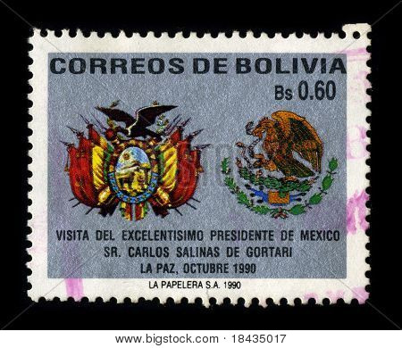 BOLIVIA - CIRCA 1990: A stamp dedicated to the Visit of Mexican President Carlos Salinas in Bolivia, circa 1990.