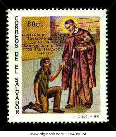 EL SALVADOR - CIRCA 1992:A stamp printed in EL SALVADOR shows image of the Saint Vincent de Paul(24 April 1581-27 September 1660)was a priest of the Catholic Church, circa 1992.