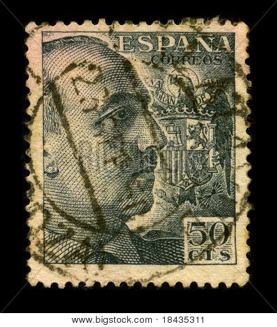 SPAIN-CIRCA 1950:A stamp printed in Spain shows image portrait Francisco Paulino Hermenegildo Teodulo Franco y Bahamonde Salgado Pardo de Andrade,commonly known as Franco, circa 1950.