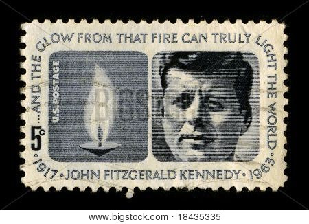 "USA-CIRCA 1970:A stamp printed in USA shows image portrait John Fitzgerald ""Jack"" Kennedy, often referred to by his initials JFK, was the 35th President of the United States, circa 1970."