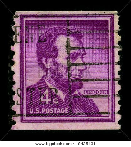 USA-CIRCA 1930:A stamp printed in USA shows image of Abraham Lincoln served as the 16th President of the United States from March 1861 until his assassination in April 1865, circa 1930.