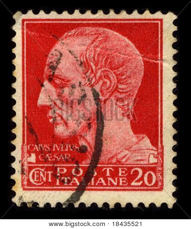 ITALY-CIRCA 1929:A stamp printed in ITALY shows image of the Gaius Julius Caesar (13 July 100 BC - 15 March 44 BC) was a Roman general and statesman, circa 1929.