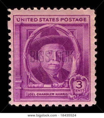 USA-CIRCA 1940:A stamp printed in USA shows image of Joel Chandler Harris was an American journalist, fiction writer, and folklorist best known for his collection of Uncle Remus stories, circa 1940.