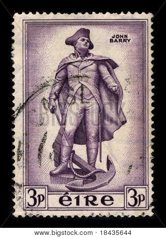IRELAND-CIRCA 1956:A stamp printed in IRELAND shows image of John Barry  was an officer in the Continental Navy during the American Revolutionary War and later in the United States Navyl, circa 1956.