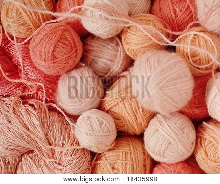 pink woolen balls
