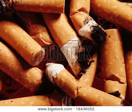filters of cigarettes and ash