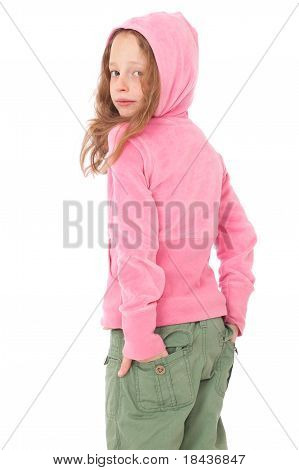 Young Girl wearing pink hood top With Back Turned