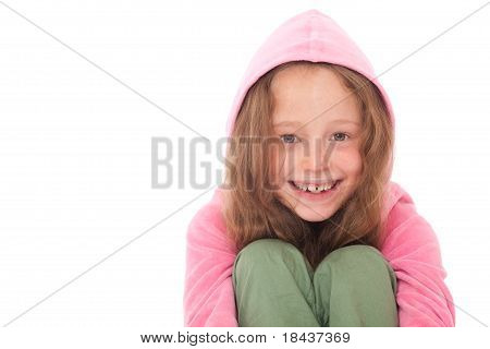 Young Girl Smiling Wearing Pink Hood