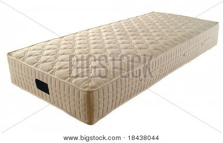 single new mattress isolated over white background