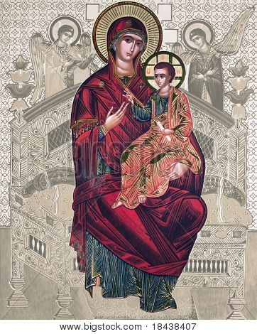 antique russian icon with Mary and Jesus, elaborated image