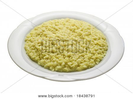 yellow risotto with saffron, risotto alla milanese, traditional italian food
