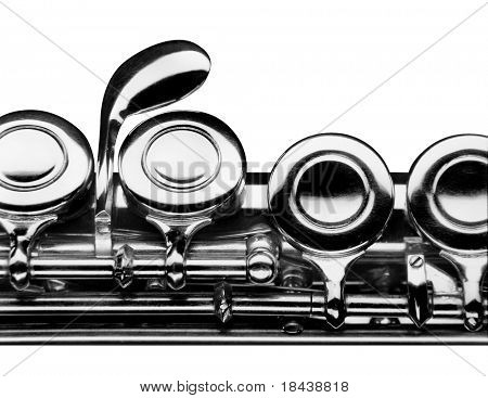close up photo of a flute over white