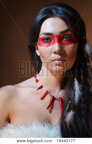 American Indian With Paint Face Camouflage