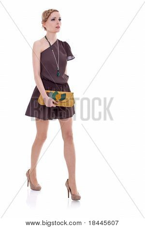 Young Lady In Dress Walking