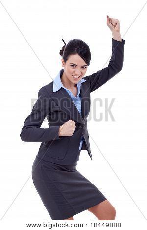 Business Woman Celebrating Success