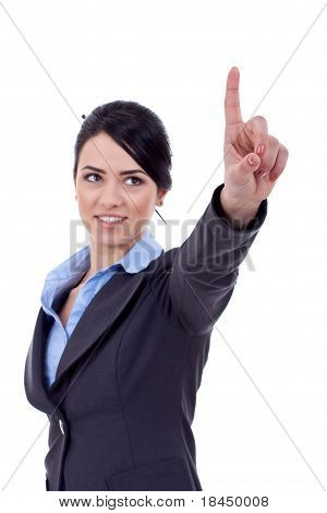 Business Woman Pressing Imaginary Button