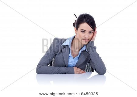 Tired Business Woman At Her Desk