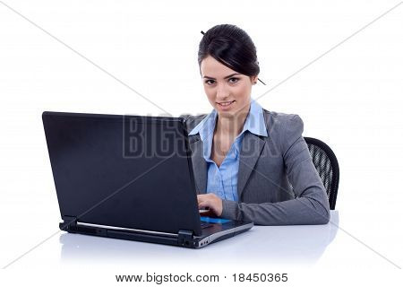 Business Woman Using Laptop