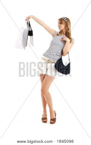Cheerful Blond With Shopping Bags