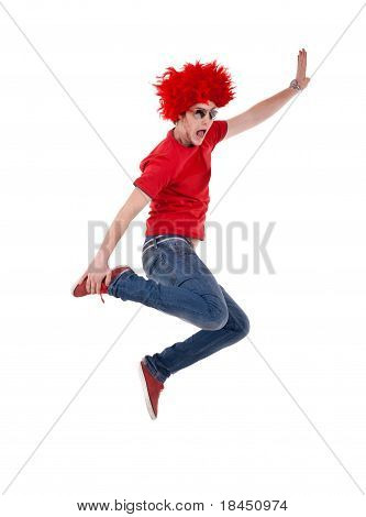 Funky Man With Red Big Wig