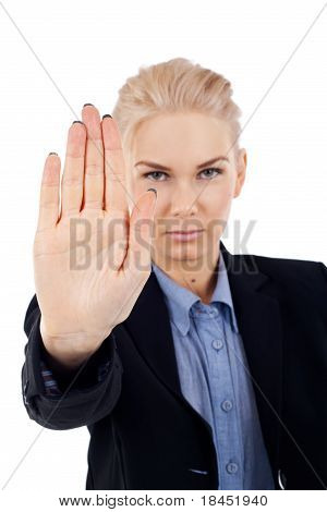 Business Woman Making A Stop Gesture