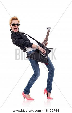 Screaming Girl Playing An Electric Guitar