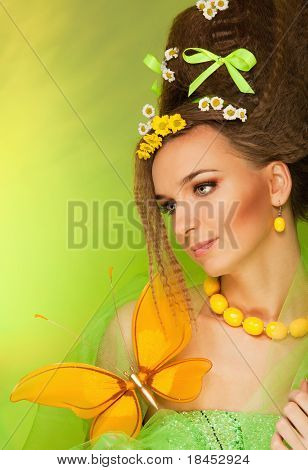 Beauty Portrait With Big Butterfly