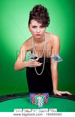 Woman Winning At Poker Table
