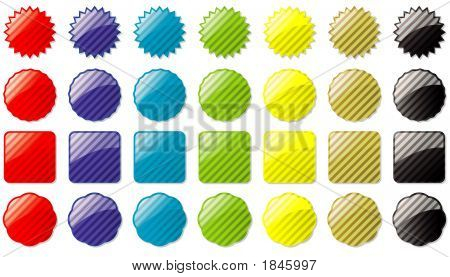 Glass Buttons Colored Stripe