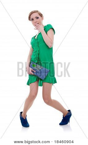 Shy Woman In Green