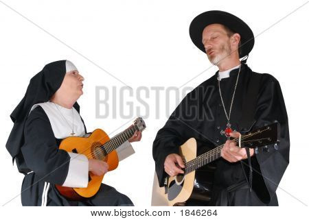 Nun And Priest Playing The Guitar