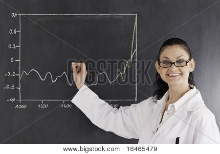 Smiling Scientist Drawing Charts On The Blackboard