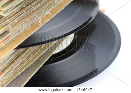 Close Up Of Old Vinyl Records Foccusing On The Record
